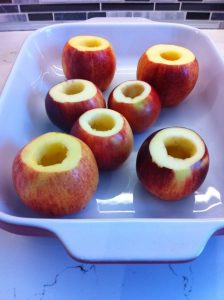 cored apples