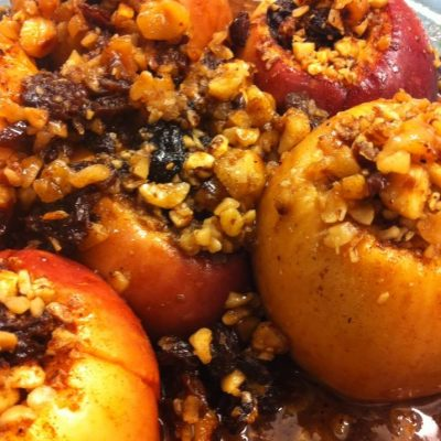 Hazelnut Maple Baked Stuffed Apples