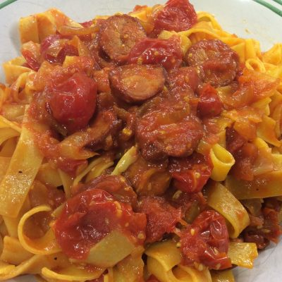 When Spain Meets Italy in Canada – Tomato, Chorizo & Saffron Fettucine