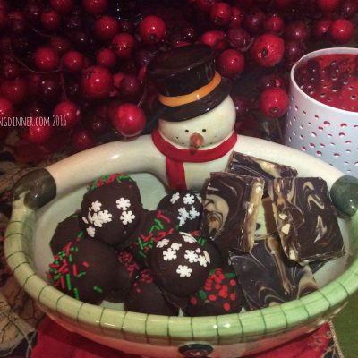 Gathering the Goodies for Santa's Plate Peanut Butter Balls and Peanut Butter Chocolate Bark